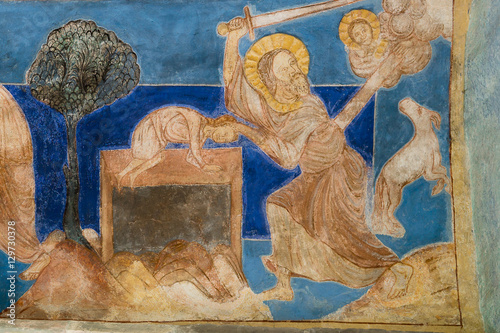 Abraham's sacrifice. Romanesque wall-painting. Poster