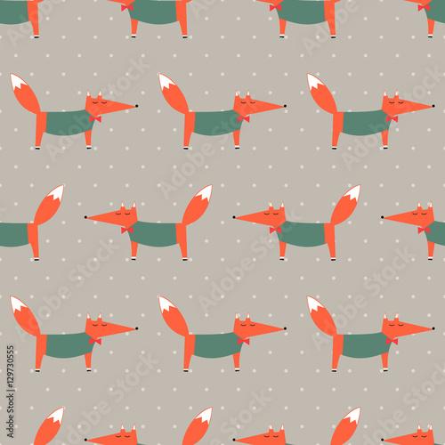 fox-wzor-na-tle-polka-dot-ilustracja-kreskowka-wektor-foxy-dziecko-rysunek-styl-tlo-zwierze-projektowanie-mody-dla-tkanin-tekstyliow