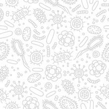 Seamless Vector Pattern Of Germs And Bacteria