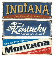 Vintage Tin Sign Collection With USA State. Indiana. Kentucky. Montana. All States. Retro Souvenirs Or Old Paper Postcard Templates On Rust Background. States Of America.
