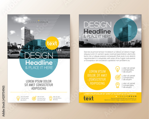 poster flyer pamphlet brochure cover design layout with circle shape graphic elements and space for photo background, blue and yellow color scheme, vector template in A4 size Wall mural