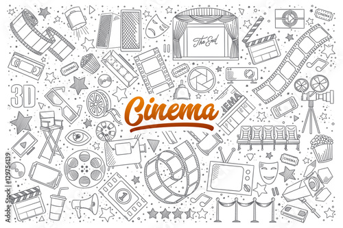 Hand drawn set of cinema doodles with orange lettering in vector