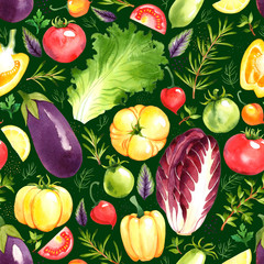 Panel Szklany Podświetlane Warzywa Seamless pattern with watercolor vegetables on green background