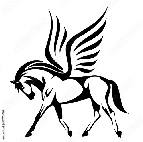 Cuadros en Lienzo pegasus illustration - winged horse side view black and white vector design