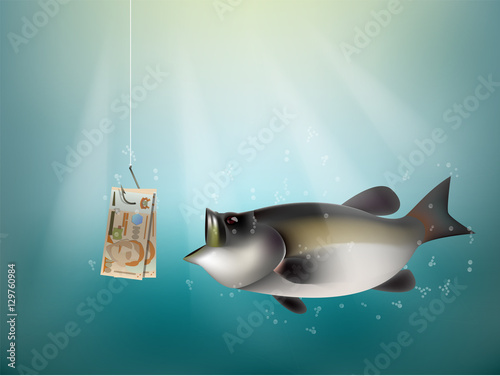 Fotografija  singapore dollars money paper on fish hook, fishing using singapore dollars cash