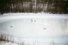 Winter Ice Skating Rink Outdoors In The Park