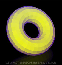 Abstract Stereometry: Low Poly Yellow Torus. EPS 10, Vector.
