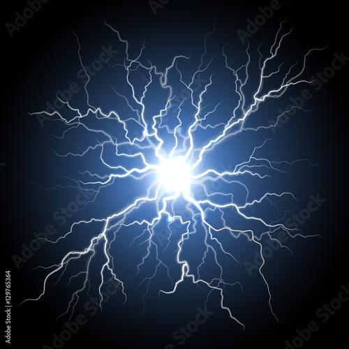 Obraz Human nerve or neural cells system, lightning flash light - fototapety do salonu
