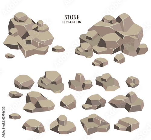 21d9efe7583fd1 Cartoon stone set. Grey rock collection, illustration isolated on ...