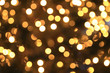 canvas print picture - Abstract Christmas background, golden circular bokeh of lights.