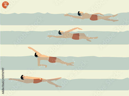beautiful illustration vector of step to perform backstroke swimming, swimming d Canvas Print