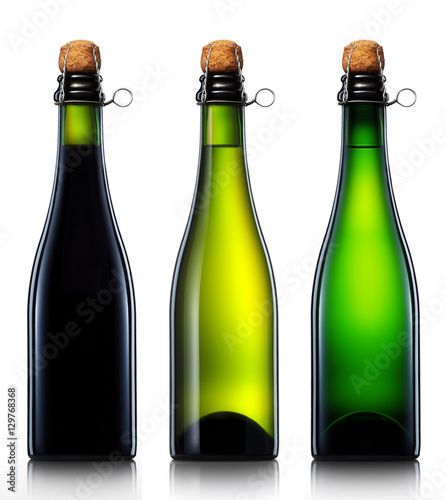 Photographie Bottle of beer, cider or champagne isolated on white background
