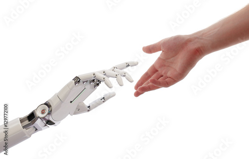 Photo  Human and Robot Hands Reaching Artificial Intelligence Concept 3d Illustration