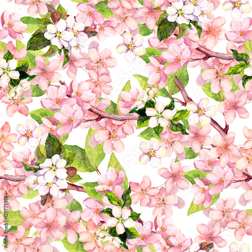 Cotton fabric Cherry blossom, apple pink flowers. Floral repeating pattern. Watercolor