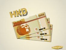 Hong Kong Dollar Money Paper Minimal Vector Graphic Design