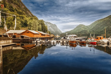 Boat Berth On Lake In Norway W...