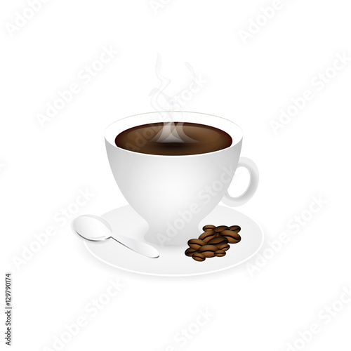 Fotografie, Obraz  Cup of coffee. Piccolo with coffee beans, fume and spoon.