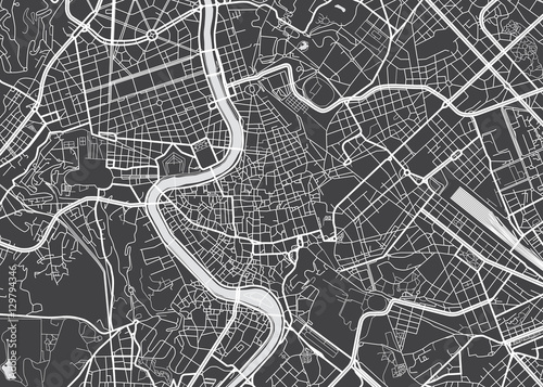 Fotografie, Tablou  Vector detailed map Rome