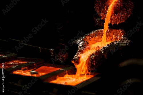 Valokuva  Molten metal at aluminium foundry. Master alloys