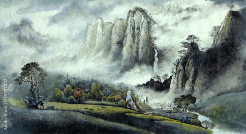 Photo  Chinese landscape mist waterfall and mountains