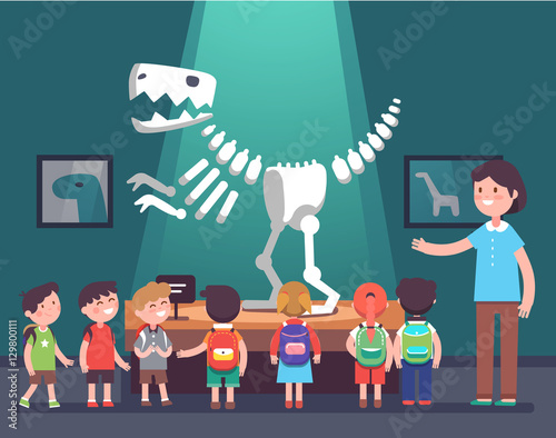 Group of kids at archeology museum excursion Wallpaper Mural