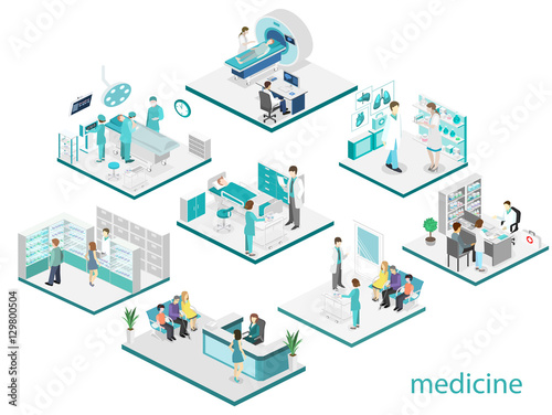 Fotografie, Obraz  Isometric flat interior of hospital room, pharmacy, doctor's office,