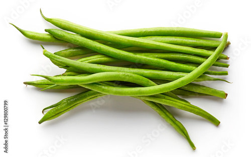 Green beans isolated on white, from above