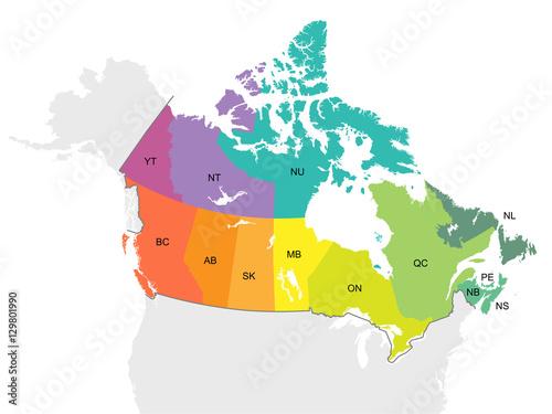 MAP Canada Individual Provinces Detail Wallpaper Mural