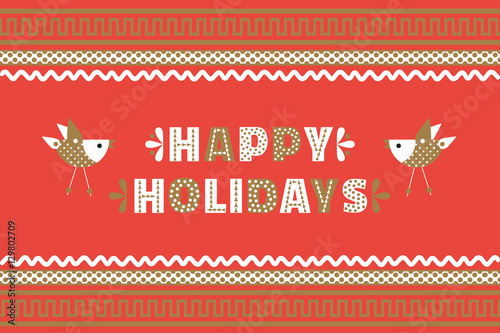 Happy Holidays Cute Fancy Colorful Letters Ornate Border