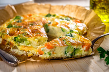Homemade Vegetable  Quiche On Wooden Background
