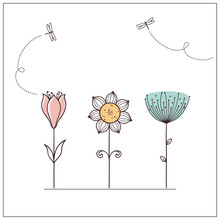 Hand Drawn Doodle Flowers Set With Dragonflies