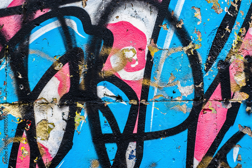 Poster Graffiti Fragment of a wall with graffiti. Abstract background