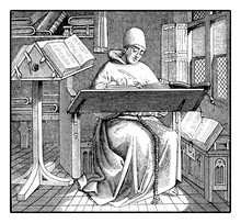Medieval Monk Copying An Ancie...