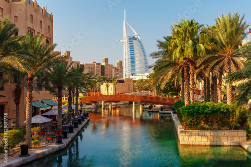 Montage in der Fensternische Dubai Cityscape with beautiful park with palm trees in Dubai, UAE