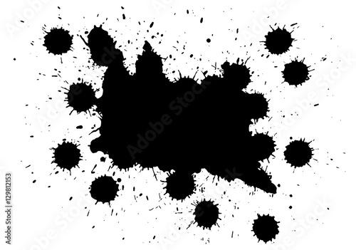 Foto op Aluminium Vlinders in Grunge Black Ink Splatter Background