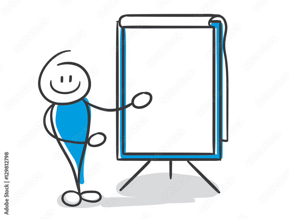 Stick Figure Series Blue / Tafel, Whiteboard, Flipchart ...