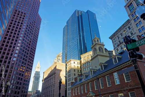 Old State House and Custom House Tower in Boston