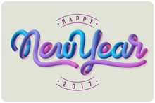 Happy New Year 2017 Greeting Card With Vector Colorful Lettering Composition