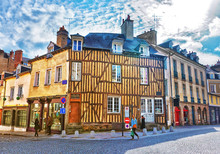 Half Timbered Houses In Rennes Of Brittany France