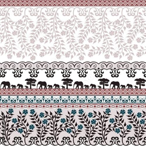 ladny-wzor-z-kwiatami-i-sloniami-rozowy