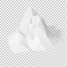 White 3D Mountains, Abstract Low-poly, Polygonal Triangular Mosaic Elevation Landscape With Transparent Background For Web, Presentations And Prints. Vector Illustration. Realistic 3D Render Design.