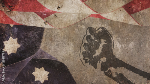 Photo  Martin Luther King Day. Usa Flag Concrete and Fist