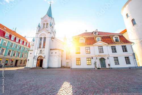 Photo View on the roman catholic church on the sunset in the old town of Riga, Latvia
