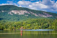 Lake Lure And Mountains In Lake Lure, North Carolina.