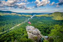 View Of Chimney Rock And Lake Lure At Chimney Rock State Park, N
