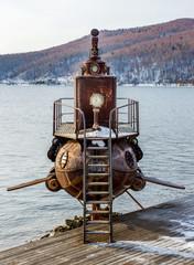 FototapetaOld submarine near lake
