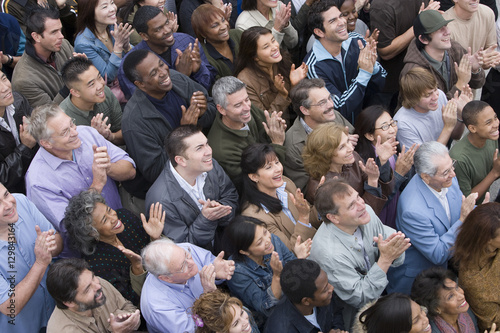 Photo  High angle view of multiethnic people clapping together