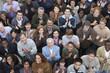 canvas print picture - High angle view of multiethnic people clapping at rally