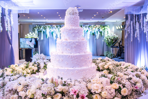 A Beautiful Wedding Cake With Decoration At Wedding