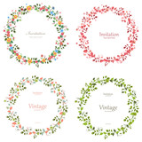 Fototapeta Kwiaty - romantic floral collection of wreaths for your design.